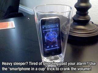 Heavy sleeper? Tired of snoozing past your alarm? Use the 'smartphone in a cup' trick to crank the volume!
